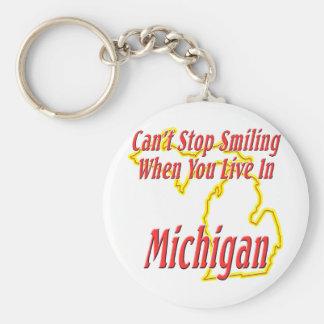 Michigan - Smiling Basic Round Button Key Ring