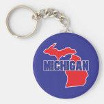 Michigan State Basic Round Button Key Ring