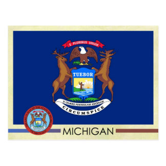Michigan State Flag and Seal Postcard