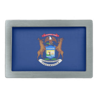 Michigan State Flag Rectangular Belt Buckles