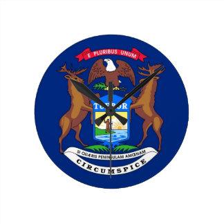 Michigan State Flag Round Wall Clock