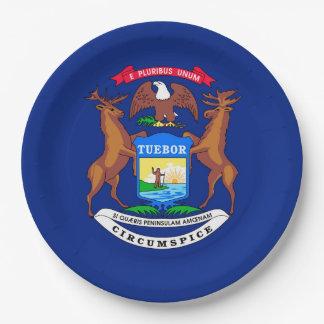 Michigan State Flag Design 9 Inch Paper Plate