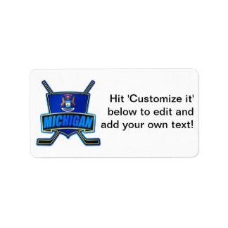 Michigan State Flag Hockey Logo Address Label