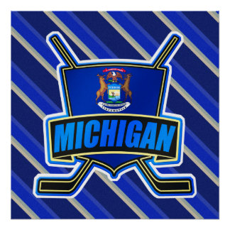 Michigan State Flag Hockey Logo Artwork Poster
