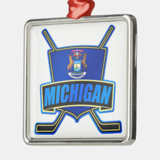 Michigan State Flag Hockey Logo Christmas Ornament