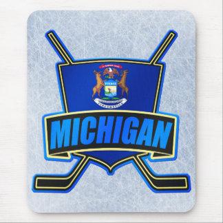 Michigan State Flag Hockey Logo Mouse Pad