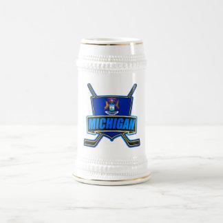 Michigan State Flag Hockey Logo Beer Steins