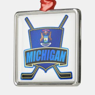 Michigan State Flag Hockey Logo Silver-Colored Square Decoration