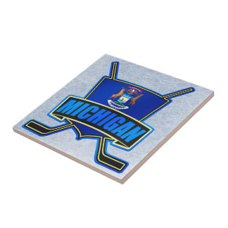 Michigan State Flag Hockey Logo Small Square Tile