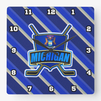 Michigan State Flag Hockey Wall Clock