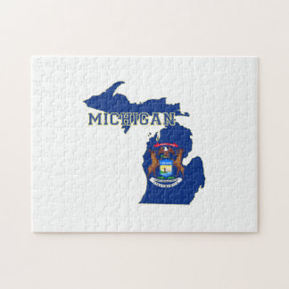 Michigan State Flag Map Puzzles