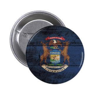 Michigan State Flag on Old Wood Grain 6 Cm Round Badge