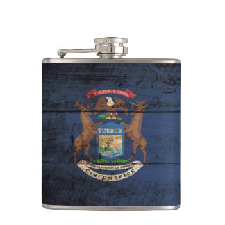 Michigan State Flag on Old Wood Grain Hip Flask