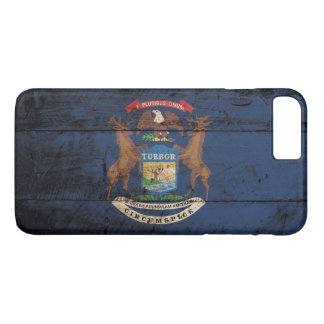 Michigan State Flag on Old Wood Grain iPhone 7 Plus Case