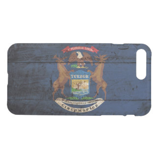 Michigan State Flag on Old Wood Grain iPhone 8 Plus/7 Plus Case