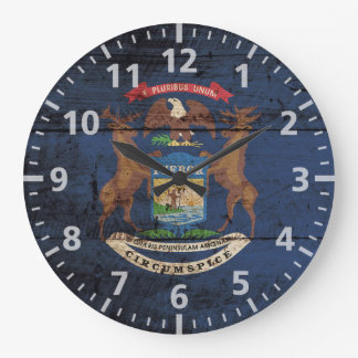 Michigan State Flag on Old Wood Grain Wall Clocks