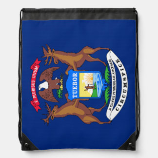 Michigan State Flag Cinch Bags