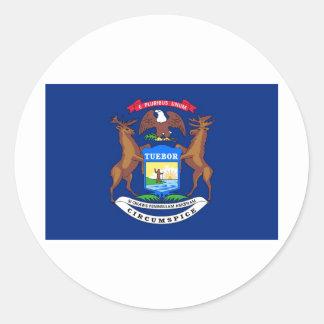 Michigan State Flag Round Sticker