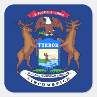 Michigan State Flag Square Sticker