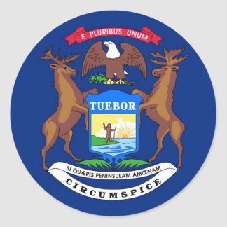 Michigan State Flag Round Stickers