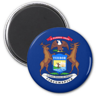 Michigan state flag usa united america symbol 6 cm round magnet