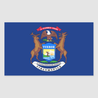 Michigan state flag usa united america symbol rectangular sticker