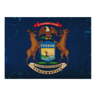 Michigan State Flag VINTAGE.png 13 Cm X 18 Cm Invitation Card
