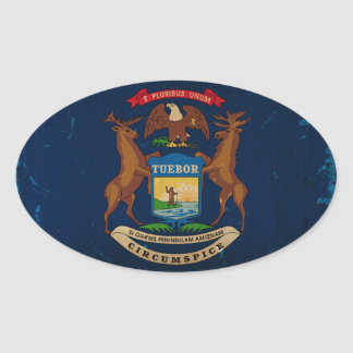 Michigan State Flag VINTAGE.png Oval Sticker