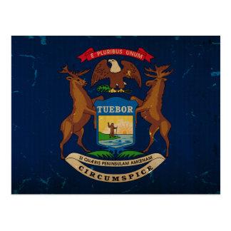 Michigan State Flag VINTAGE.png Postcard