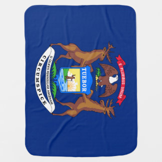 Michigan State Flag Receiving Blanket