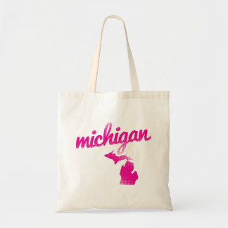 Michigan state in pink tote bag