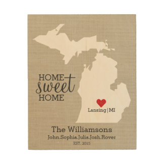 Michigan State Map Custom Family Name Established Wood Wall Art