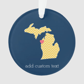 Michigan State Map with Custom Love Heart and Name