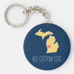 Michigan State Map with Custom Love Heart and Name Basic Round Button Key Ring