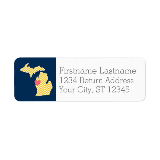 Michigan State Map with Custom Love Heart and Name Return Address Label