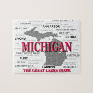 Michigan State Pride Map Silhouette Jigsaw Puzzle