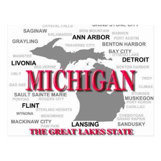Michigan State Pride Map Silhouette Postcard