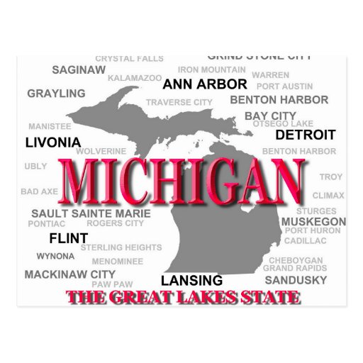 Michigan State Pride Map Silhouette Post Cards
