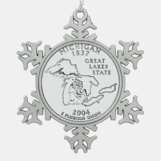Michigan State Quarter Snowflake Pewter Christmas Ornament