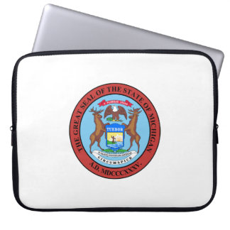 Michigan state seal america republic symbol flag laptop sleeve