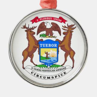 Michigan State Seal Silver-Colored Round Decoration