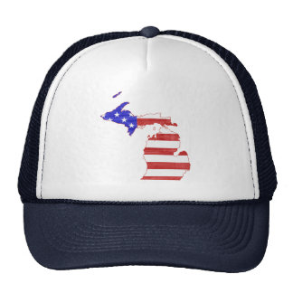 Michigan State Shaped American Flag Cap