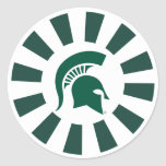 Michigan State Spartan Helmet Logo Round Sticker