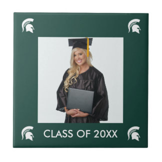 Michigan State University Spartan Helmet Logo Small Square Tile