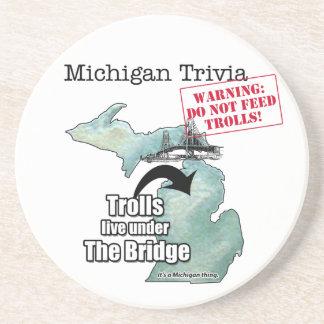 Michigan Trivia: Trolls Live Under the Bridge Drink Coaster