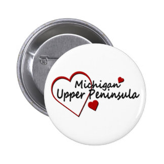 Michigan Upper Peninsula Heart Button