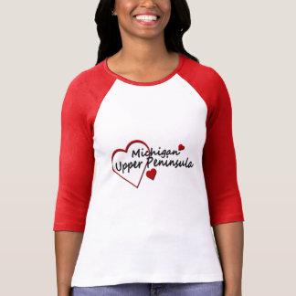 Michigan Upper Peninsula Ladies Red Raglan T-shirts