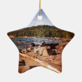 Michigan Upper Peninsula Shoreline Ceramic Star Decoration