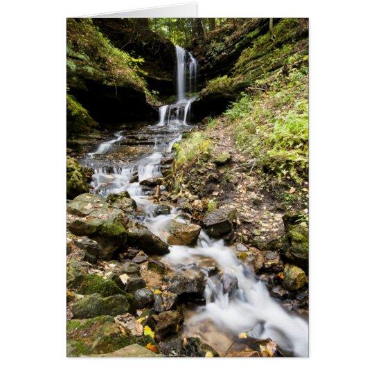 Michigan Upper Peninsula Waterfall In A-zazzlecard Card