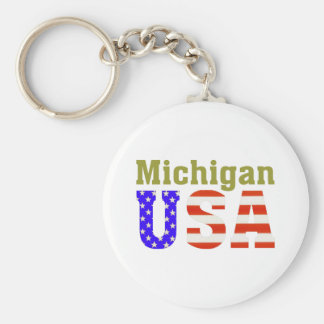 Michigan USA! Basic Round Button Key Ring